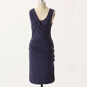 Anthro Deletta Camber Ruched Navy Dress